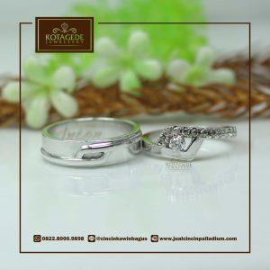 Cincin Kawin Tunangan Nikah Palladium Emas Putih P0023WG