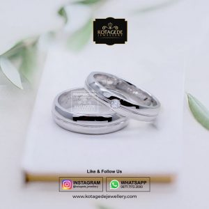 Cincin Kawin Tunangan Palladium Emas Putih PD0039WG