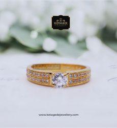 Cincin Emas Wanita Solitare Rose Gold Elegant RG0093