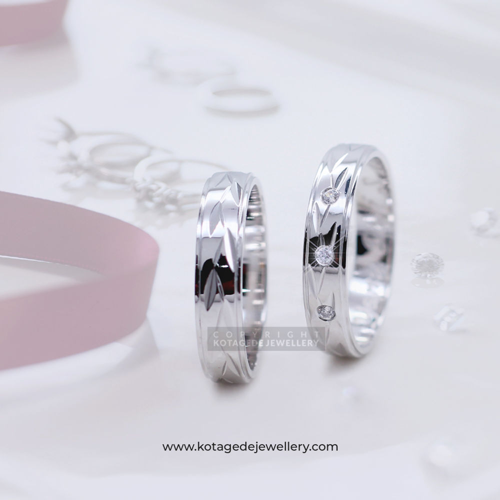 Cincin Kawin Tunangan Palladium Emas Putih PD0087WG