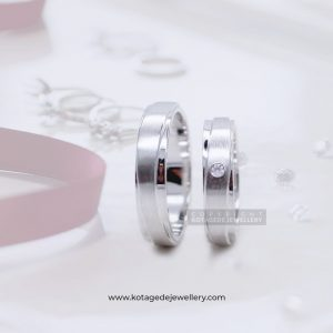 Cincin Kawin Tunangan Palladium Emas Putih Simple PD0075WG