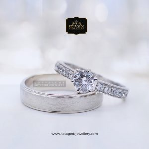 Cincin Kawin Tunangan Palladium Emas Putih Solitare PD0049WG