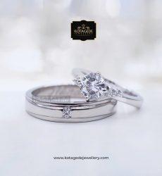 Cincin Kawin Tunangan Platinum Emas Putih PT0073WG