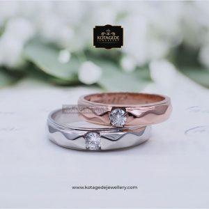 Cincin Kawin Tunangan Platinum Emas Rose Gold PT0075RG