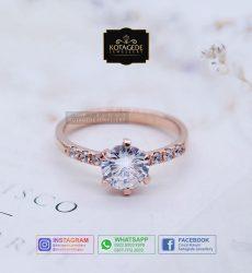 Cincin Kawin Tunangan Wanita Emas Rose Gold Elegant RG0079