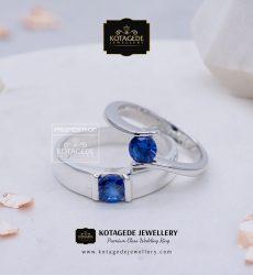 Cincin Kawin Tunangan Palladium Emas Putih Blue Shafir PD0082WG