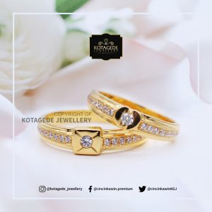 Cincin Kawin Tunangan Platinum Emas Kuning Elegant PT0079YG