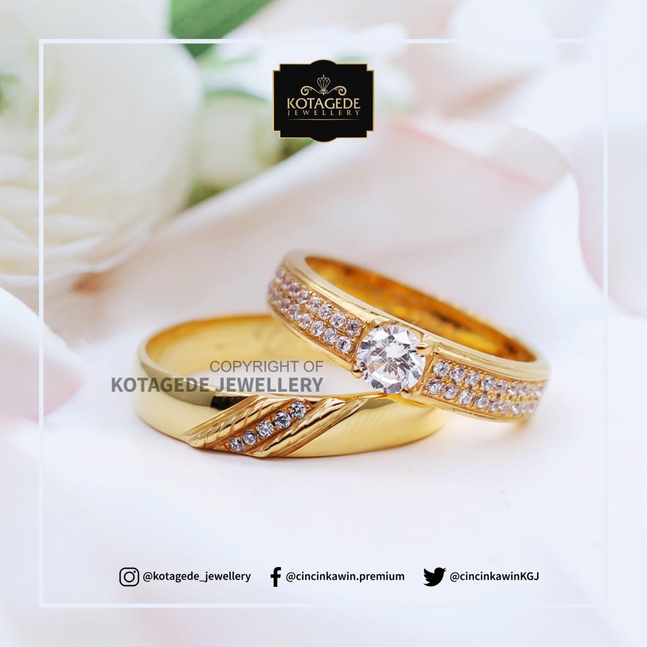 Cincin Kawin Tunangan Platinum Emas Kuning Solitare PT0076YG
