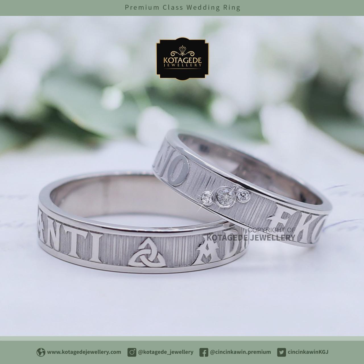 Cincin Kawin Tunangan Platinum Emas Putih Exclusive Pt0079wg Couple Cr 2