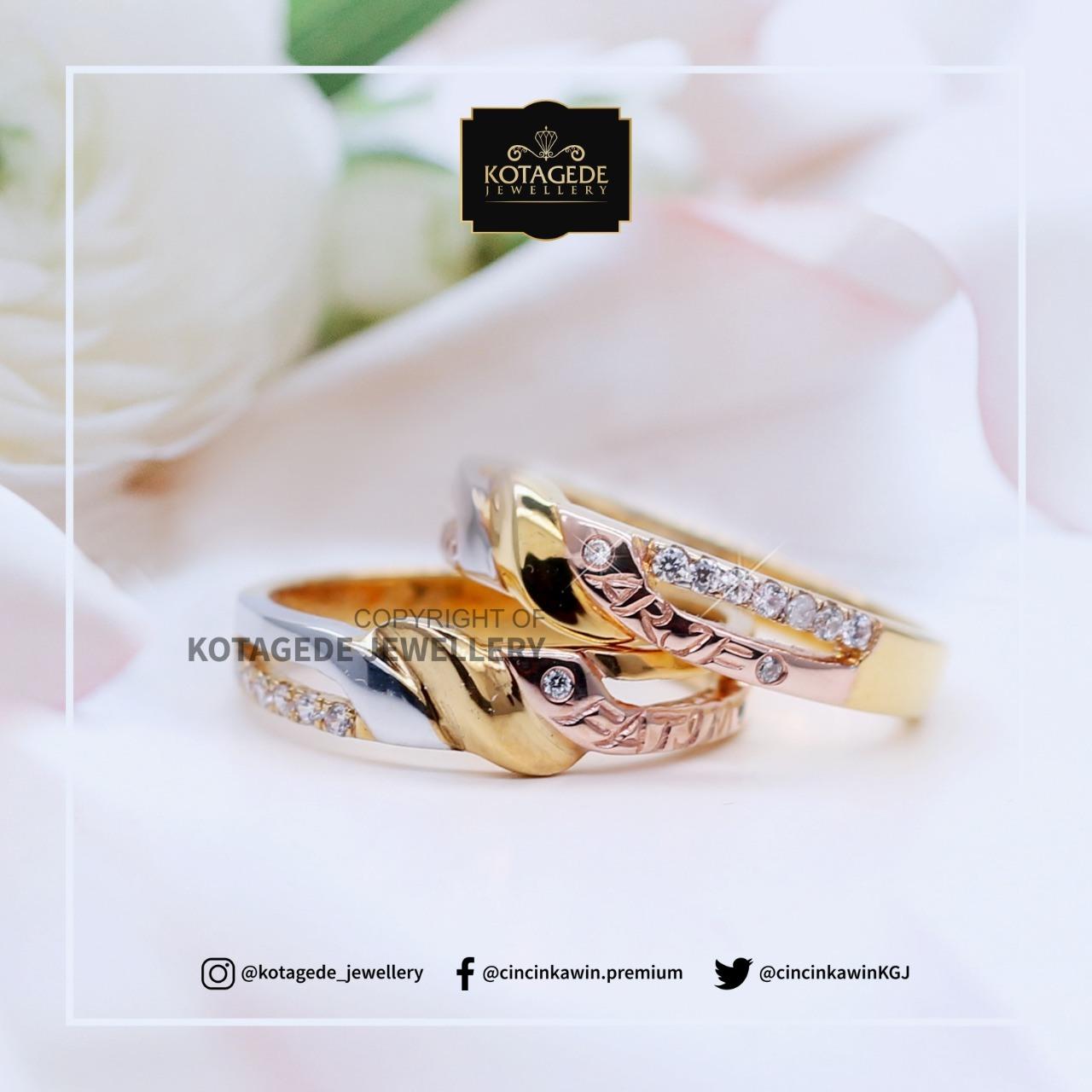 Cincin Kawin Tunangan Platinum Rose Gold Elegant PT0067RG