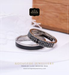 Cincin Kawin Tunangan Palladium Black Crystal PD0023