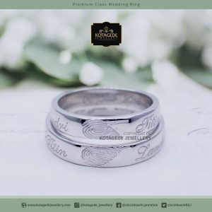Cincin Kawin Tunangan Palladium Couple Fingerprint PD0022PD