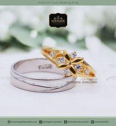 Cincin Kawin Tunangan Palladium Emas Kuning Bintang PD0027YG