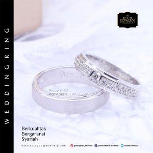 Cincin Kawin Tunangan Palladium Emas Putih PD0033WG