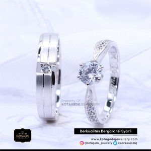 Cincin Kawin Tunangan Palladium Emas Putih PD0113WG