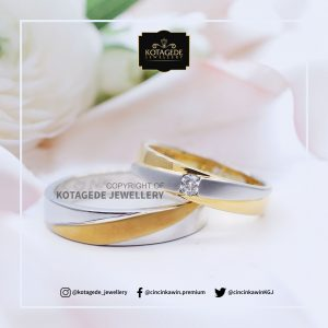Cincin Kawin Tunangan Couple Platinum Emas Kuning PT0127YG
