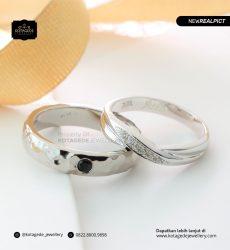Cincin Kawin Tunangan Black Diamond Palladium Emas Putih Premium PD0169WG