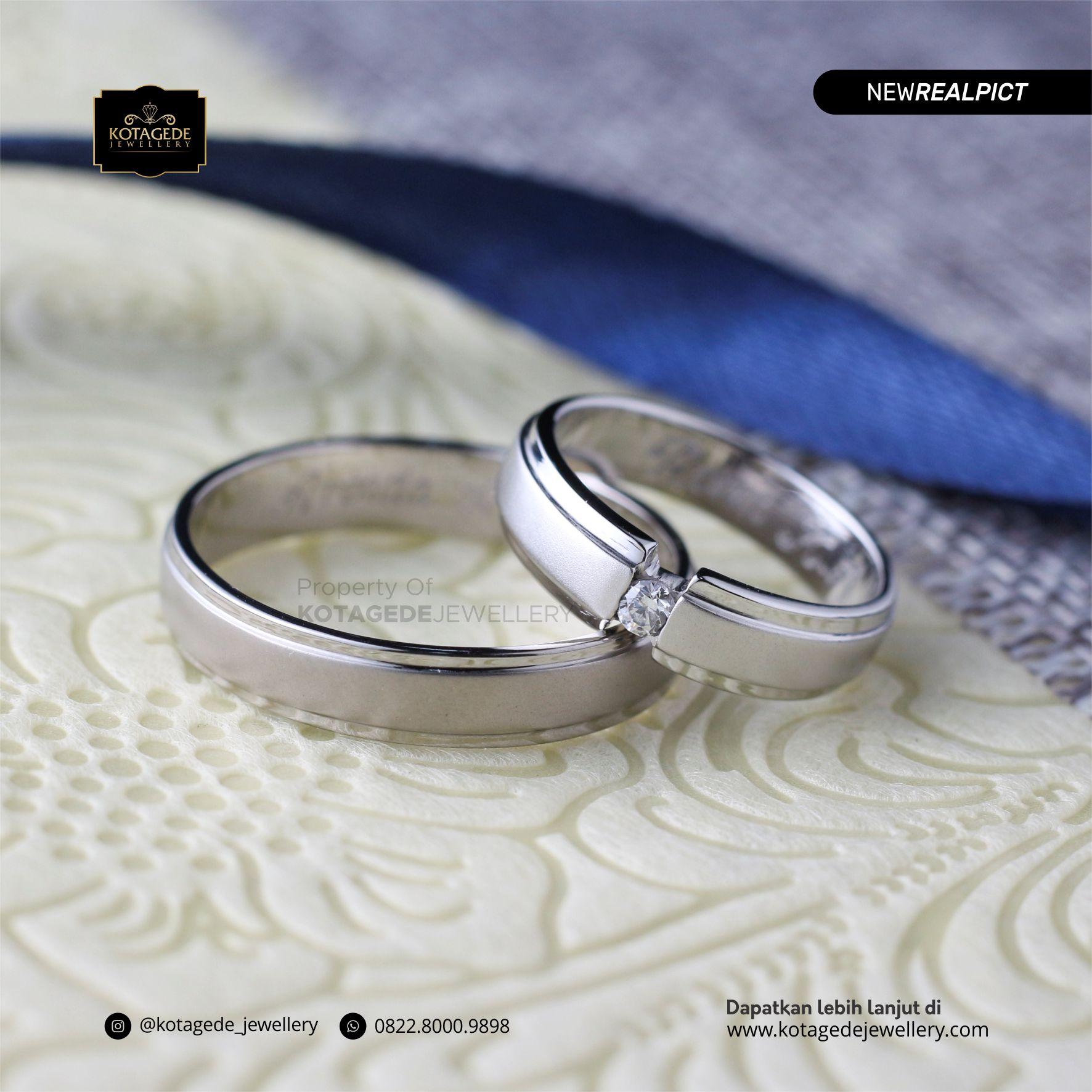 Cincin Kawin Tunangan Couple Palladium Emas Putih PD0156WG