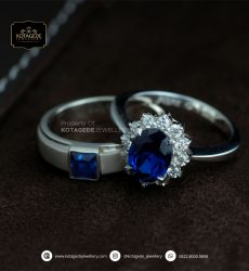 Cincin Kawin Tunangan Palladium Blue Diamond PD0165PD