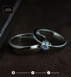 Cincin Kawin Tunangan Palladium Emas Putih Elegant PD0166WG