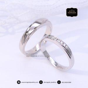 Cincin Kawin Tunangan Palladium Emas Putih Premium PD0153WG
