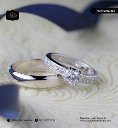 Cincin Kawin Tunangan Platinum Emas Putih Diamond PT0159YG