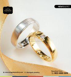 Cincin Kawin Tunangan Palladium Emas Kuning Elegant PD0200YG