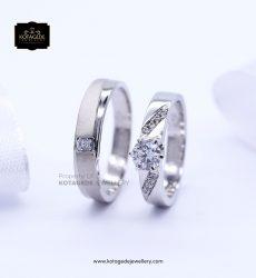 Cincin Kawin Tunangan Palladium Emas Putih Diamond PD0181WG