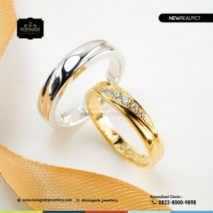 Cincin Kawin Tunangan Platinum Emas Kuning Couple PT0203YG