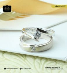 Cincin Kawin Tunangan Platinum Emas Putih PT0191WG