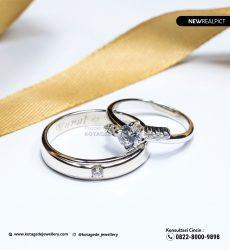 Cincin Kawin Tunangan Platinum Emas Putih Premium PT0211WG