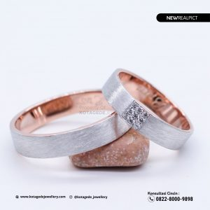 Cincin Kawin Tunangan Doff Rose Gold Couple RG0224RG