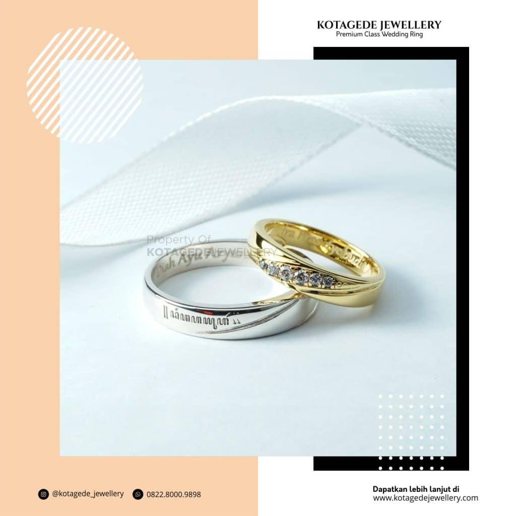 Cincin Kawin Tunangan Palladium Emas Kuning Couple PD0245YG