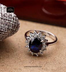 Cincin Kawin Tunangan Emas Putih Blue Diamond WG0256