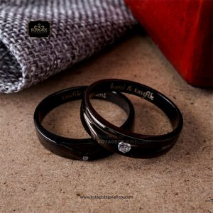 Cincin Kawin Tunangan Palladium Rhodium Black Couple PD0258PD