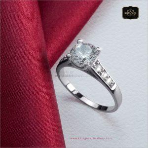 Cincin Kawin Tunangan Emas Putih Elegan WG0297