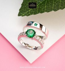Cincin Kawin Eksklusif Emerald Couple Platidium PTD0305PTD
