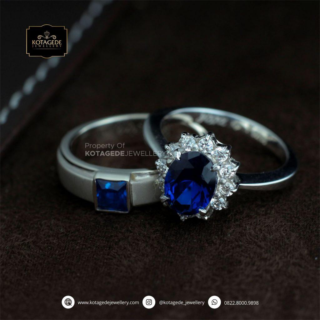 Cincin Kawin Tunangan Palladium Blue Diamond PD0165PD