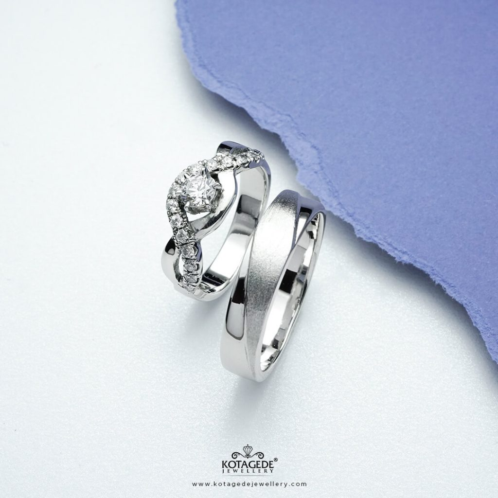 Cincin Kawin Tuangan Palladium Emas Putih Glamour PTD0349WG