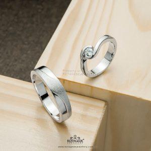 Cincin Tunangan Platidium Emas Putih Elegan PTD0373WG