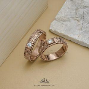 Cincin Kawin Tunangan Batik Rosegold Couple RG0395RG