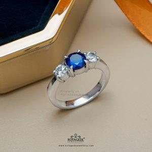Cincin Kawin Tunangan Emas Putih Permata Biru WG0386