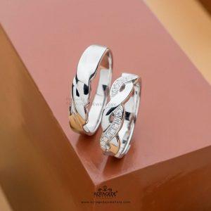 Cincin Kawin Tunangan Platidium Emas Putih Silang PTD0405WG