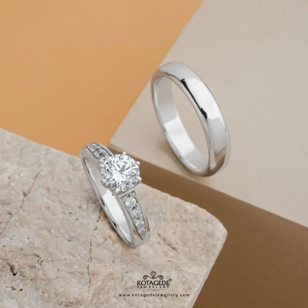 Cincin Kawin Tunangan Elegan Platidium Emas Putih PTD0420WG