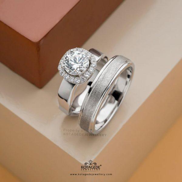 Cincin Kawin Tunangan Mewah Halo ring PTD0412WG