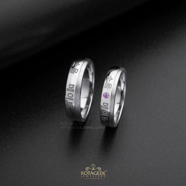 Cincin Kaawin Tunangan Platidium Couple Ukir Korea PTD0459PTD