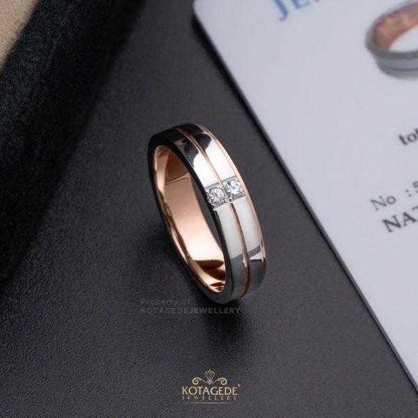 Cincin Kawin Tunangan Wanita Rosegold Simpel RG0357